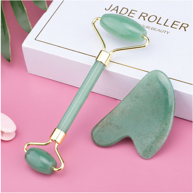 Jade Facial Roller And Gua Sha Set