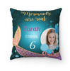 Personalized Glittery Mermaid Pillow Case With Photo, Name And Date
