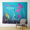 Customized Mermaids Imagine Tapestry Backdrop With Name And Birth Date