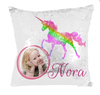 Distinct Interior Magic Mermaid Rainbow Unicorn Pillow Case With Your Photo & Name Pink