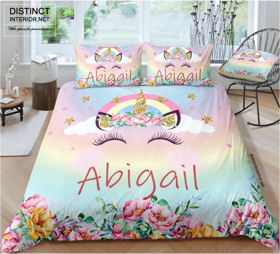 Distinct Interior Personalized Floral Unicorn Bedding Set With Name Distinct Interior Norway Distinct Interior