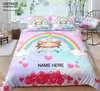 Personalized Rainbow Unicorn Bedding Set With Name