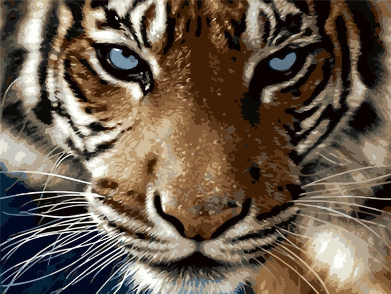 Tiger Oil Painting By Number Kit On 40x50cm Canvas; Relaxing At-Home Hobby