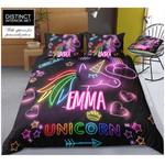 Distinct Interior Personalized Rainbow Unicorn Bedding Set With Neon Light Effect; Unicorn Bedding Set With Name