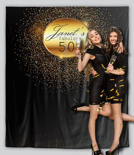 Glittery Gold Birthday Backdrop Tapestry