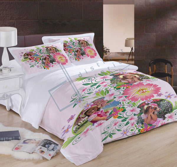 Distinct Interior Personalized Floral Bedding Set With Photo & Name For Girl