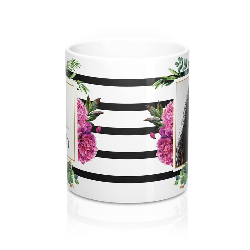 Free Shipping Personalized Floral Mug With Photo and Name. Gift For Mother Of The Bride. Gift For Bridesmaid. Gift For Best Friend