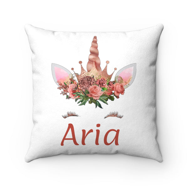 Personalized Orange Floral Unicorn With Name Faux Suede Square Pillow