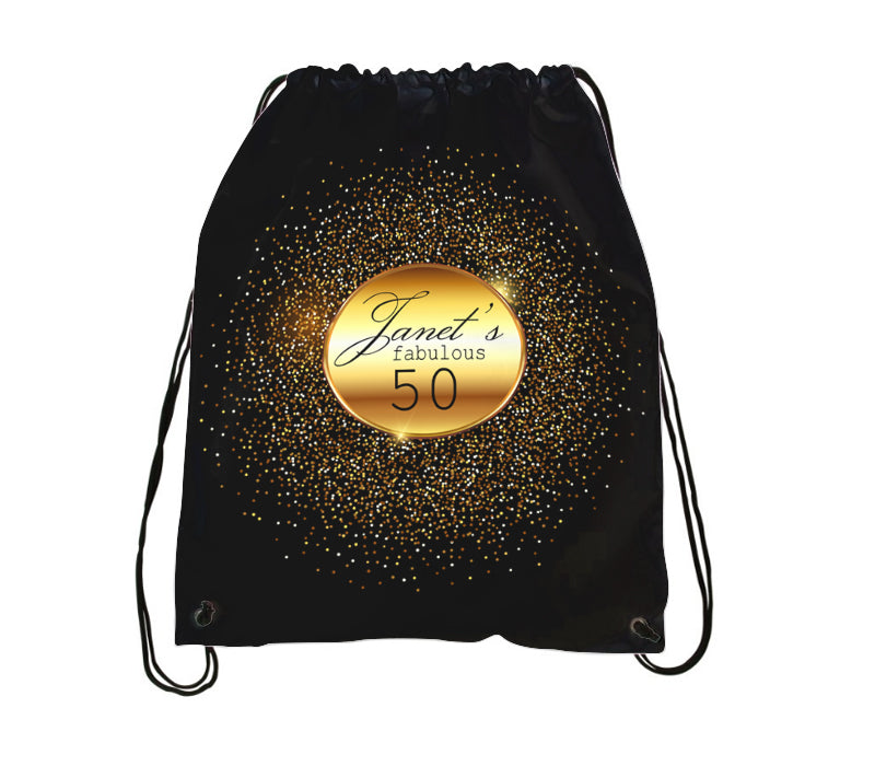 Distinct Interior 4pcs Peronalized Drawstring Backpack In Black And Gold Motif