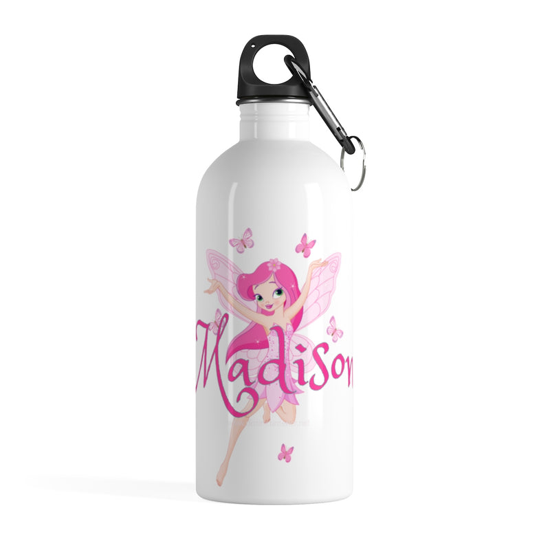 Personalized Pink Fairy With Name Stainless Steel Water Bottle
