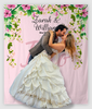 Customized Hanging Flowers On Pink Background Wedding Backdrop Tapestry