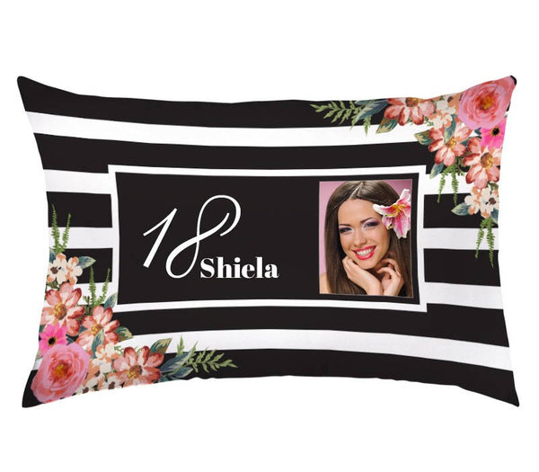 Distinct Interior Floral Birthday Lumbar Pillow Case With Picture, Name And Age