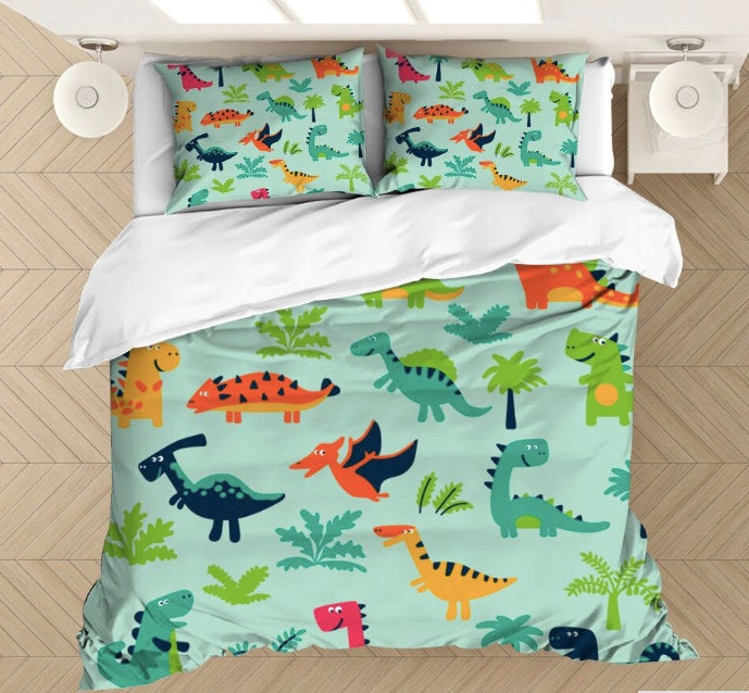 Distinct Interior Personalized Dinosaurs Bedding Set With Name