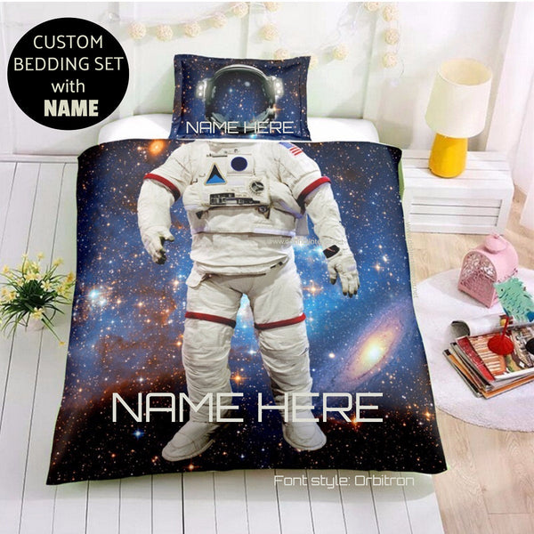 Distinct Interior Personalized Astronaut Bedding Set With Name