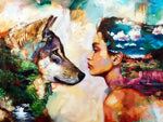 Wolf And Woman At-Home Hobby DIY Oil Painting By Number