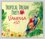 Custom Tropical Summer Toucan Parrot Backdrop, Dessert Table Decor,Girls Birthday Backdrop, Photo shoot Backdrop