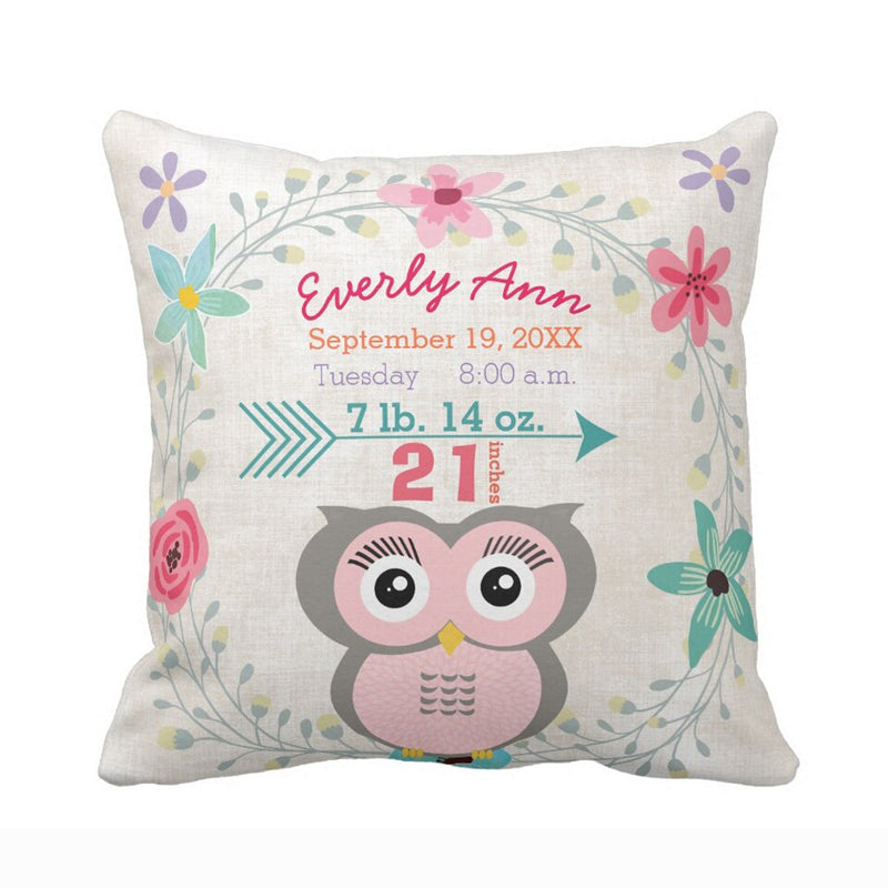 Distinct Interior Personalized Baby Birth Announcement Owl Floral; Custom Birth Stats Cushion Cover