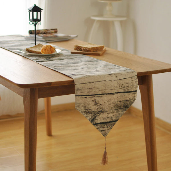 Cotton vintage wood table runner simulation bark pattern wallpaper background decoration decorative cloth placemat