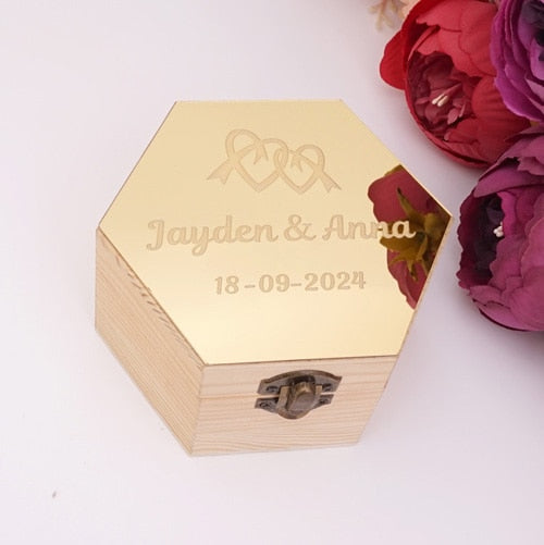 Distinct Interior Personalized Mirror Top Hexagon Ring Box Twin Hearts Design With Couple's Name And Wedding Date