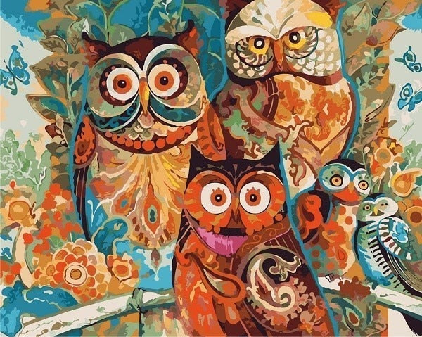 DIY Oil Painting By Number Kit On 40x50cm Canvas With Owls Image