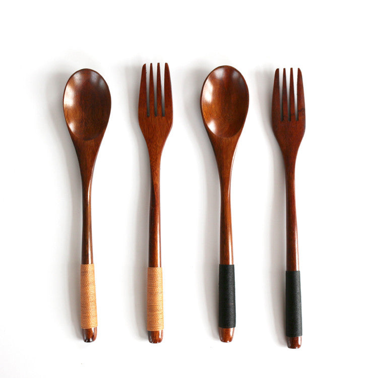 Japanese Wooden Spoon Fork Set Vintage Large Honey Spoon Wood Tableware Long handled Fork