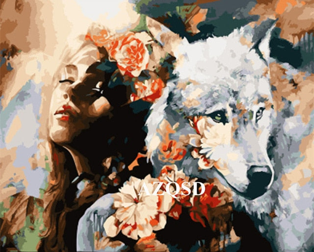At-Home Hobby Woman And White Wolf DIY Oil Painting By Number