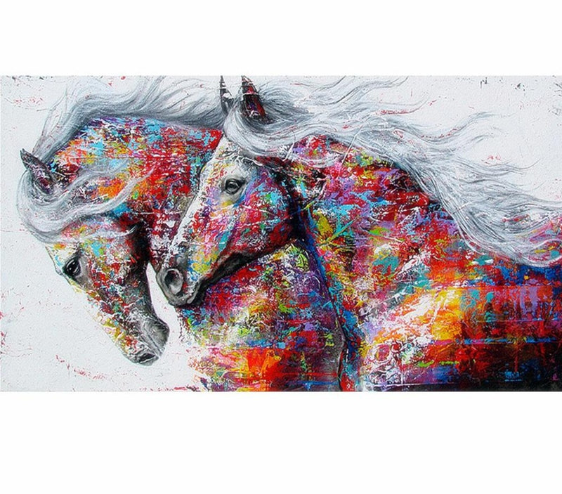 Distinct Interior Two Horses Diamond Painting Kit