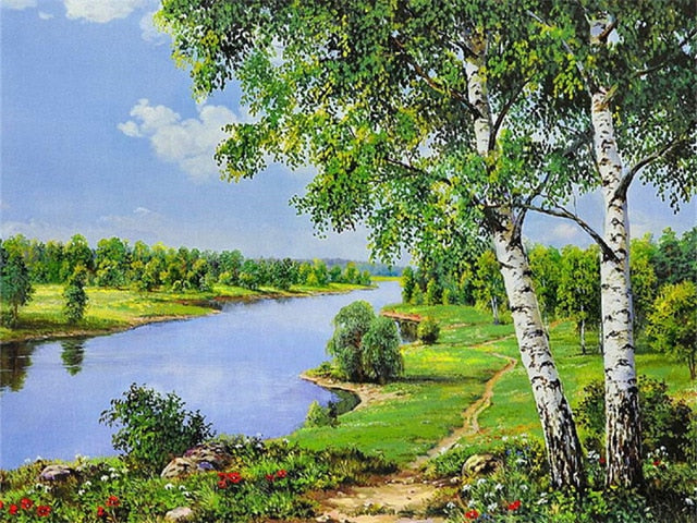 DIY Oil Painting By Numbers Kit Scenery Beautiful River