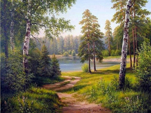 Beautiful Scenic Trees And River DIY Oil Painting By Number Kit On Canvas With Scenic View; Relaxing Home Hobby
