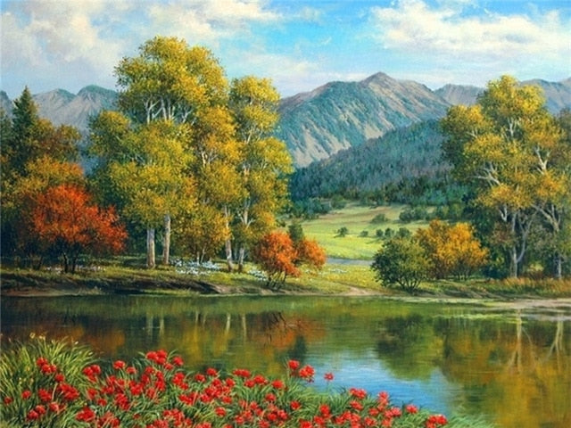 Wild Flowers By A River DIY Oil Painting By Number Kit On Canvas With Scenic View; Relaxing Home Hobby