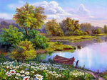 Beautiful River ViewDIY Oil Painting By Number Kit On Canvas With Scenic View; Relaxing Home Hobby