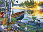 Boat By A River DIY Oil Painting By Number Kit On Canvas With Scenic View; Relaxing Home Hobby
