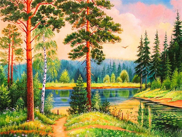 Fresh Water In A Forest DIY Oil Painting By Number Kit On Canvas With Scenic View; Relaxing Home Hobby