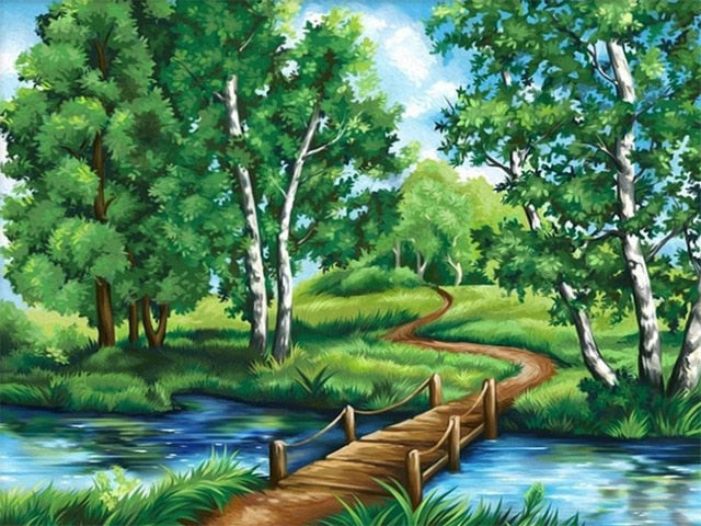 Bridge DIY Oil Painting By Number Kit On Canvas With Scenic View; Relaxing Home Hobby