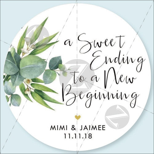 100pieces A Sweet Ending To A New Beginning Custom Sticker Label