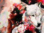 Distinct Interior At-Home Hobby Woman Roses Wolf  DIY Oil Painting By Number