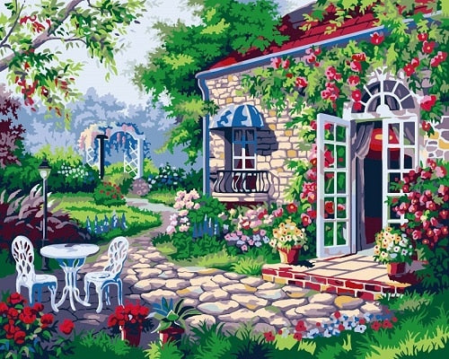 Countryside Home Romantic Garden DIY Oil Painting By Number On 40x50cm Canvas