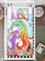 Rainbow Hair Floral Hand Painted Unicorn Bedding Set Cover With Name