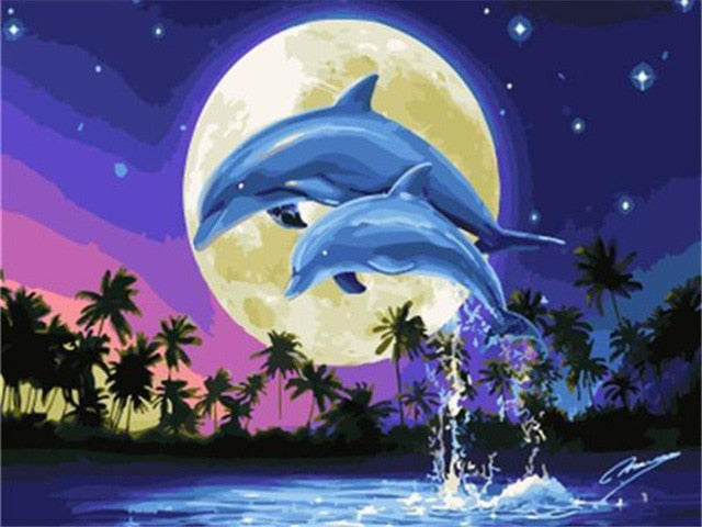 Jumping Dolphins DIY Oil Painting By Number Kit On 40x50cm Canvas