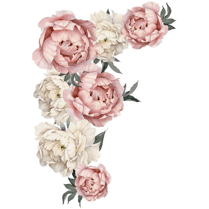 Large Pink Peony Flower Wall Sticker