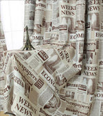 Blackout Curtain with Retro Newspaper Pattern