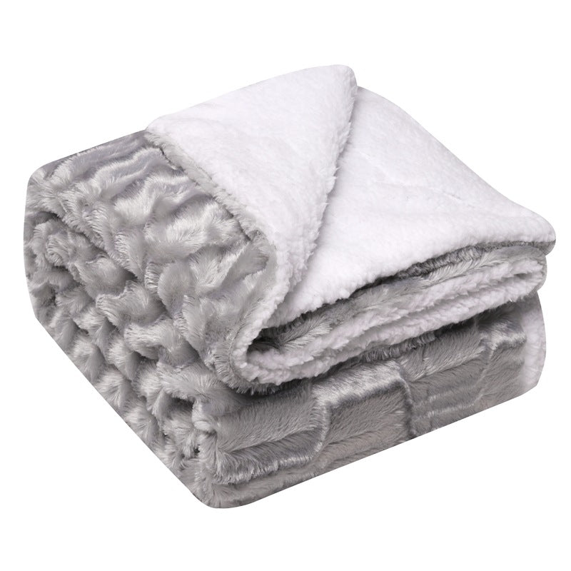 Grey Shaggy Faux Fur Sherpa Blanket