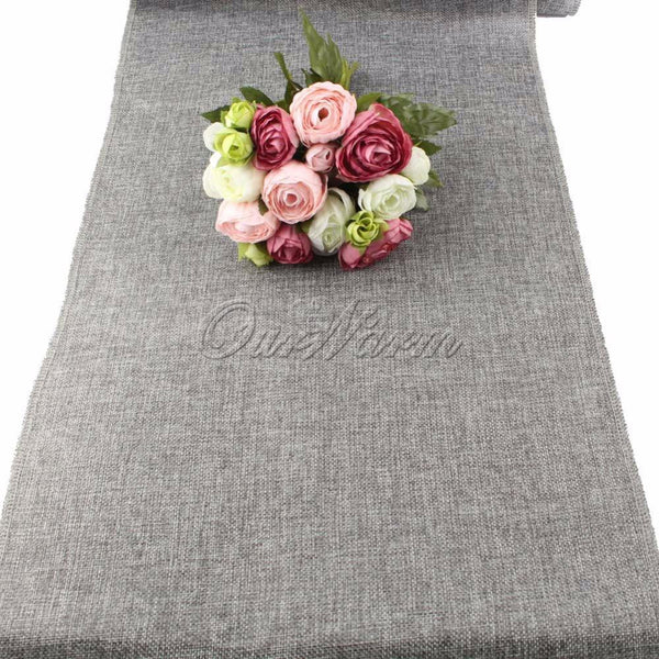 Rustic Natural Jute Decor Tablecloth Imitated Linen Table Runner for Wedding Part Table Decornation Khaki/Gray