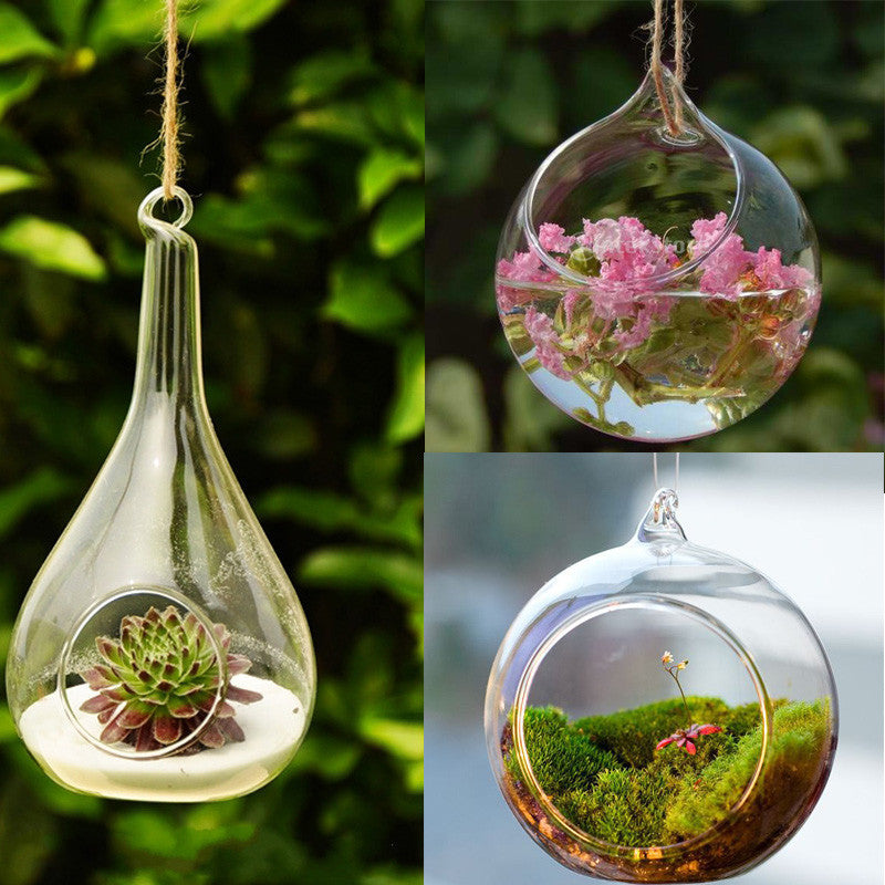 Transparent Wall Hanging Glass Ball Vase Multi Use Flower Hydroponic Vase Micro Landscape DIY Bottle Candlestick Home DIY Décor