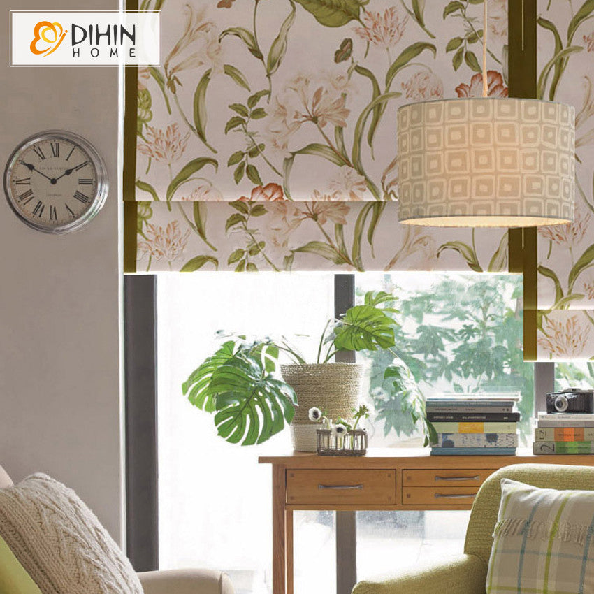 Curtains Rushed 2016 Hot Sales Professional Roman Blinds Curtain Lily Flower Many Kinds of Pattern Roller Shutter free Shipping
