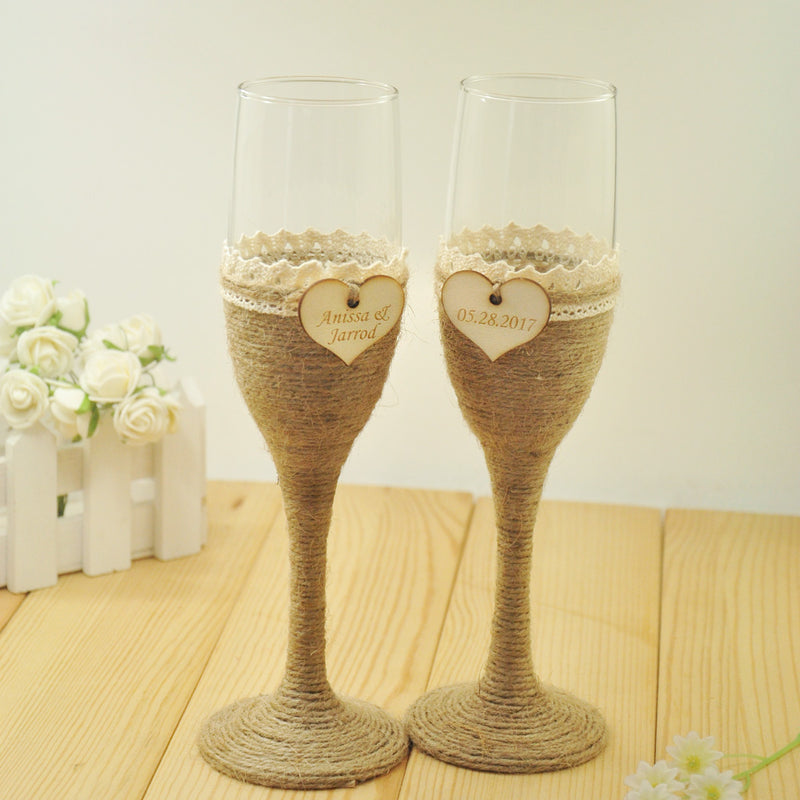 Personalized Wedding Champagne Glasses 2pcs Set
