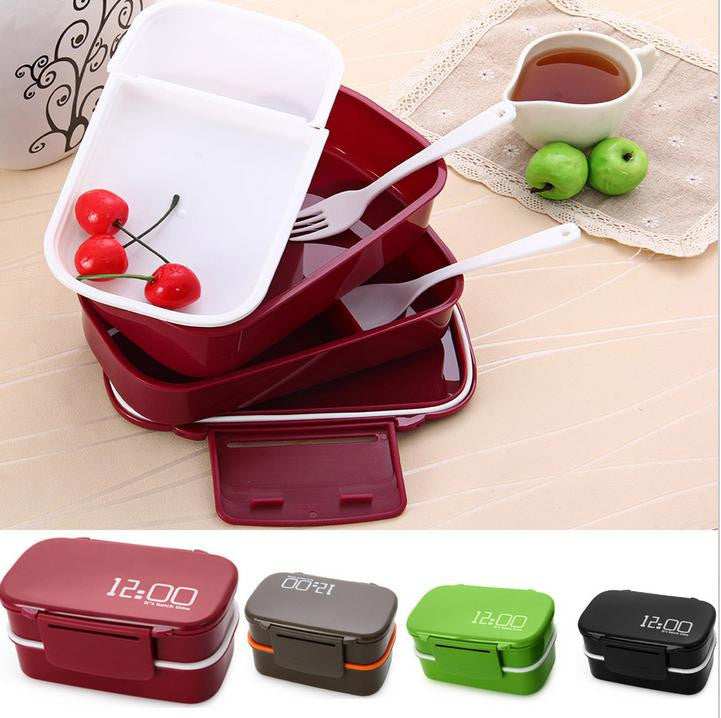 2016 Hot 12:00 It's Lunch Time Japan style Double Tier Bento Lunch Box Fashion Large Meal Box Tableware Microwave Dinnerware Set