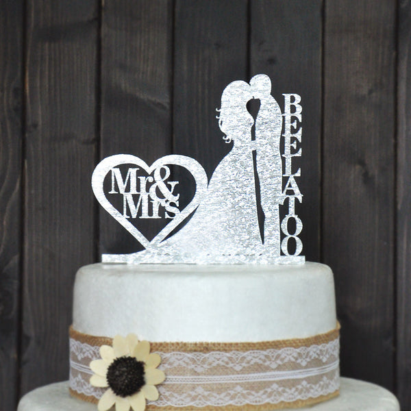 Personalized Wedding Acrylic Cake Topper With Kissing Couple, Couple's Surname And Heart With Mr & Mrs Text