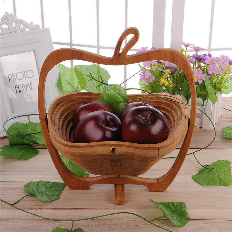 Collapsible Apple Shaped Bamboo Basket for Apple Pear Banana Fruit  1Pcs