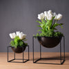 White/Black Modern Tabletop Square Metal Flower Vase